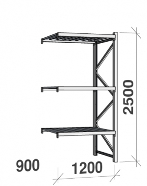Maxi extension bay 2500x1200x900 600kg/level,3 levels with steel decks