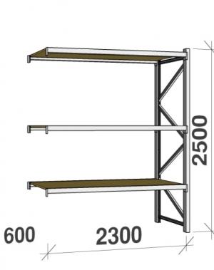 Metallriiul lisaosa 2500x2300x600 350kg/tasapind,3 puitlaast tasapinda