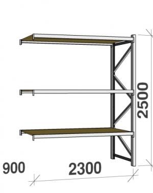 Metallriiul lisaosa 2500x2300x900 350kg/tasapind,3 puitlaast tasapinda