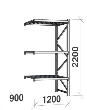 Metallriiul lisaosa 2200x1200x900 600kg/tasapind,3 tsinkplekk tasapinda