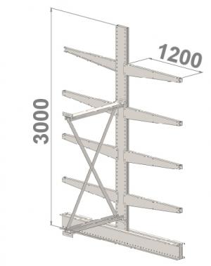 Grenställ följesektion 3000x1500x2x1200,8 x arm