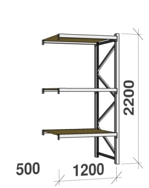 Metallriiul lisaosa 2200x1200x500 600kg/tasapind,3 puitlaast tasapinda