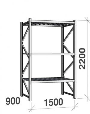 Metallriiul põhiosa 2200x1500x900 600kg/tasapind,3 tsinkplekk tasapinda
