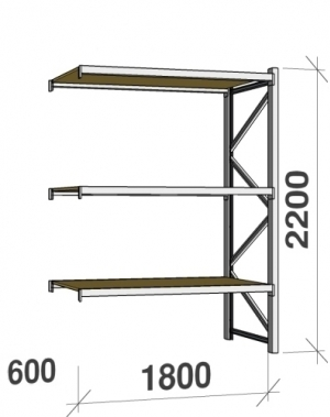 Metallriiul lisaosa 2200x1800x600 480kg/tasapind,3 puitlaast tasapinda