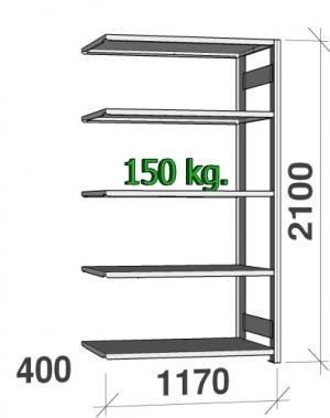 Lagerhylla följesektion 2100x1170x400 150kg/hyllplan,5 hyllor
