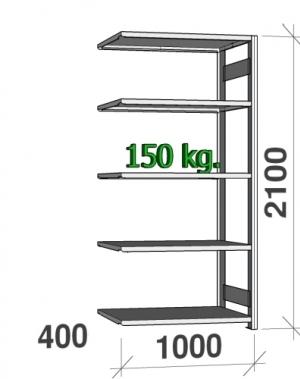 Lagerhylla följesektion 2100x1000x400 150kg/hyllplan,5 hyllor