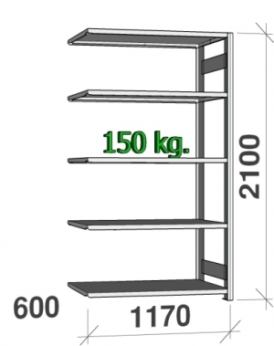 Laoriiul lisaosa 2100x1170x600 150kg/riiuliplaat,5 plaati