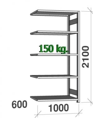 Laoriiul lisaosa 2100x1000x600 150kg/riiuliplaat,5 plaati