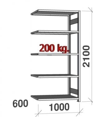 Laoriiul lisaosa 2100x1000x600 200kg/riiuliplaat,5 plaati