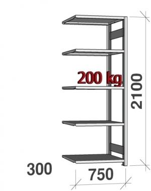 Laoriiul lisaosa 2100x750x300 200kg/riiuliplaat,5 plaati