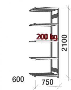 Laoriiul lisaosa 2100x750x600 200kg/riiuliplaat,5 plaati