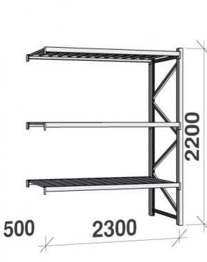 Metallriiul lisaosa 2200x2300x500 350kg/tasapind,3 tsinkplekk tasapinda