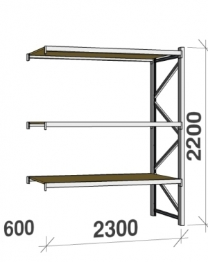 Metallriiul lisaosa 2200x2300x600 350kg/tasapind,3 puitlaast tasapinda