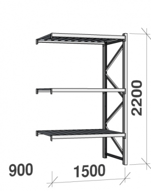 Metallriiul lisaosa 2200x1500x900 600kg/tasapind,3 tsinkplekk tasapinda