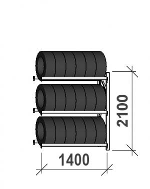 Rehviriiul, jätkuosa 2100x1400x500, 3 korrust, 600kg/tasapind
