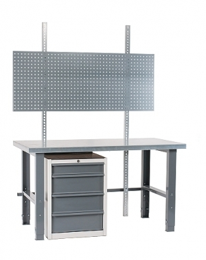 Töölaud 2000x800 + sahtlikapi, perfoseina ja värvitud jalgadega