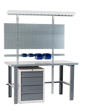 Töölaud 2000x800+sahtlikapi, perfoseina,lambi, plastkarpide & värvitud jalgadega