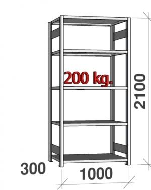 Laoriiul põhiosa 2100x1000x300 200kg/riiuliplaat,5 plaati