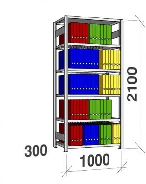 Arhiiviriiul põhiosa 2100x1000x300 200kg/riiuliplaat,6 plaati