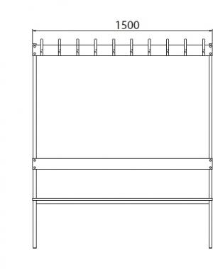 Dubbelsidig bänk med 20 krokar, 1700x1500x770