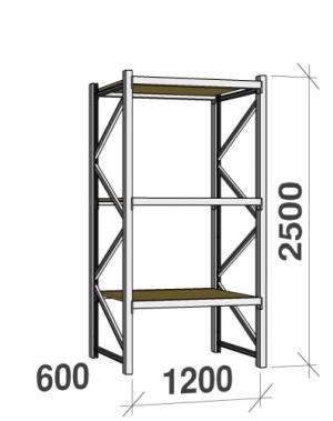 Metallriiul põhiosa 2500x1200x600 600kg/tasapind,3 puitlaast tasapinda