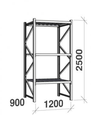 Metallriiul põhiosa 2500x1200x900 600kg/tasapind,3 tsinkplekk tasapinda
