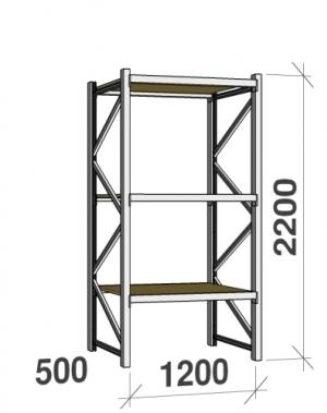Metallriiul põhiosa 2200x1200x500 600kg/tasapind, 3 puitlaast tasapinda