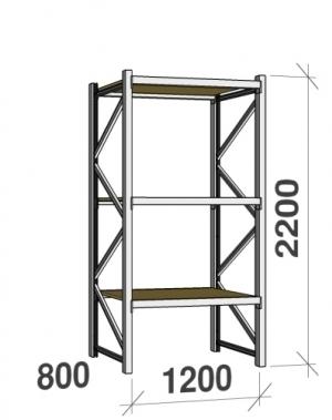 Metallriiul põhiosa 2200x1200x800 600kg/tasapind,3 puitlaast tasapinda