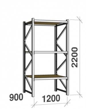 Starter bay 2200x1200x900 600kg/level,3 levels with chipboard