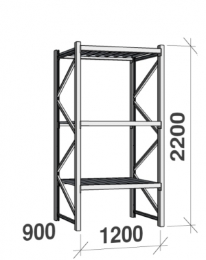 Starter bay 2200x1200x900 600kg/level,3 levels with steel decks