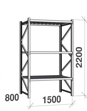 Metallriiul põhiosa 2200x1500x800 600kg/tasapind,3 tsinkplekk tasapinda