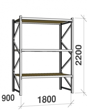 Metallriiul põhiosa 2200x1800x900 480kg/tasapind,3 puitlaast tasapinda