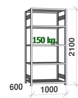 Laoriiul põhiosa 2100x1000x600 150kg/riiuliplaat,5 plaati