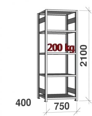 Laoriiul põhiosa 2100x750x400 200kg/riiuliplaat,5 plaati