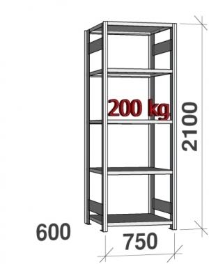 Laoriiul põhiosa 2100x750x600 200kg/riiuliplaat,5 plaati