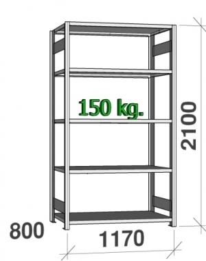 Starter bay 2100x1170x800 150kg/shelf,5 shelves