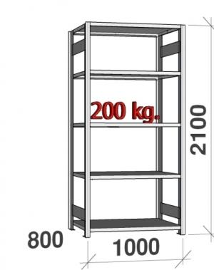 Laoriiul põhiosa 2100x1000x800 200kg/riiuliplaat,5 plaati