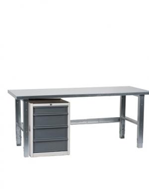Töölaud 1500x800 sahtlikapi ja tsingitud jalgadega
