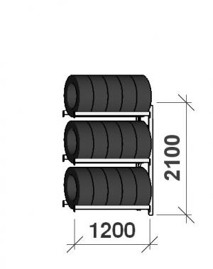 Rehviriiul, jatkuosa 2100x1200x500, 3 korrust, 600kg/tasapind