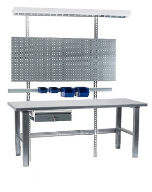 Töölaud 1500x800 + sahtli, perfoseina, lambi, plastkarpide ja zn  jalgadega