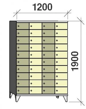Klädskåp, 40 dörrar, 1900x1200x545 mm