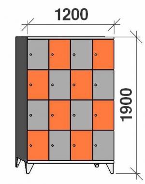 Klädskåp, 16 dörrar, 1900x1200x545 mm