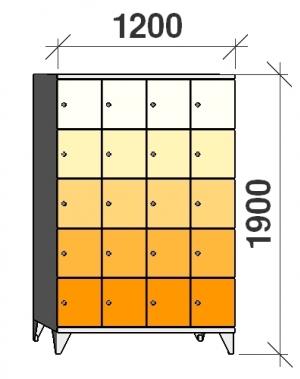 Klädskåp, 20 dörrar, 1900x1200x545 mm