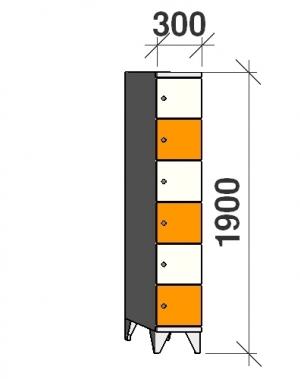Klädskåp, 6 dörrar, 1900x300x545 mm