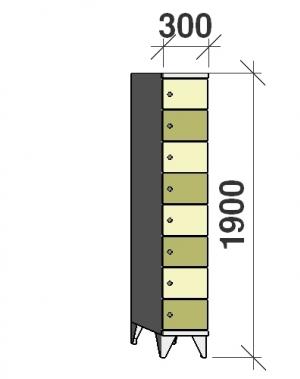Klädskåp, 8 dörrar, 1900x300x545 mm