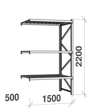 Metallriiul lisaosa 2200x1500x500 600kg/tasapind,3 tsinkplekk tasapinda