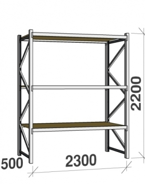 Starter bay 2200x2300x500 350kg/level,3 levels with chipboard
