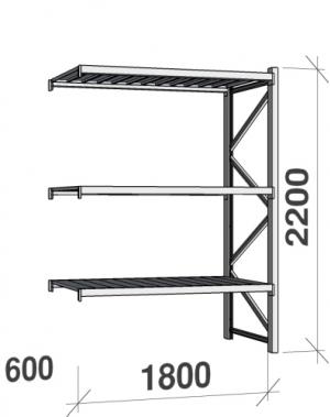 Metallriiul lisaosa 2200x1800x600 480kg/tasapind,3 tsinkplekk tasapinda