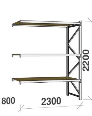 Metallriiul lisaosa 2200x2300x800 350kg/tasapind,3 puitlaast tasapinda