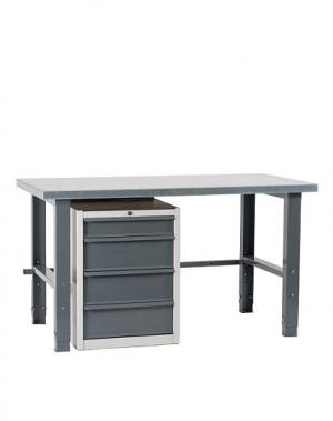 Töölaud 1500x800 sahtlikapi ja värvitud jalgadega